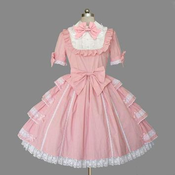 Custom Made Royal Barbie Pink and Red Short Sleeve Classic Layered Lolita Dress with Lace and Ruffles