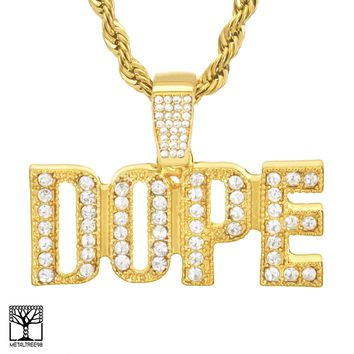 """Jewelry Kay style Men's Iced DOPE Sign 14K Gold Plated CZ Pendant 24"""" Chain Necklace HC 1904 G"""