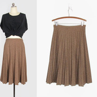 vintage accordion pleated skirt, 70s brown woven knee length a line skirt - womens s / m