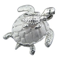 """Sterling Silver Mother and Baby Turtle Pendant Necklace, 16+2"""" Extender"""
