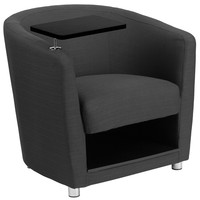Flash Furniture Charcoal Gray Fabric Guest Chair with Tablet Arm, Chrome Legs and Under Seat Storage [BT-8220-GY-GG]