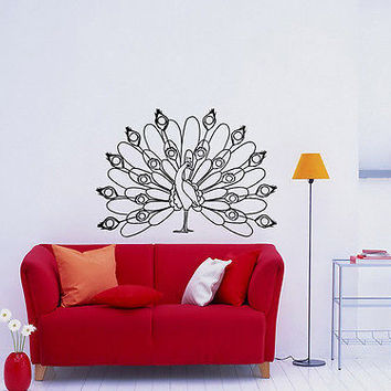 Wall Mural Vinyl Sticker Decal        bird peacock feathers DA1384