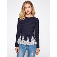 Embroidered Mesh Applique Peplum Top
