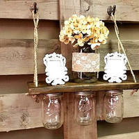 Mason Jar Decor, Hanging Shelf,Reclaimed Wood, Storage Decor, Mason Jars,Wall Hanging Organizer ,Rustic Bathroom Decor ,Gift,Country Decor
