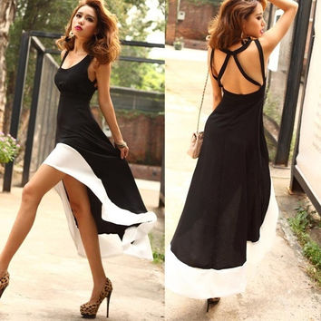 Western Style Women's Sexy Backless Low U-neck Decolletage Dovetail Dress = 1920182660