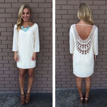 Streetstyle  Casual White Patchwork Lace Hollow-out Backless Casual Hippie Loose Dress