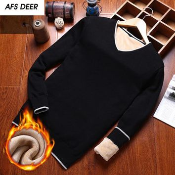 Preppy Style 2017 Men Fashion V-Neck Fleece Computer Knitting Sweater Men Business Causal Pullovers Sweater Young Boys Sweater