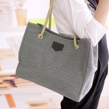 Korean Cotton Simple Design Canvas Stylish Bags Shoulder Bags [6583164551]