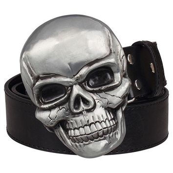 Goths wild style fashion men's belt big skull head metal buckle Smile skeleton head belt punk rock belts women jeans strap