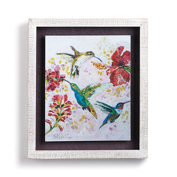 Hummingbirds and Blooms Shadow Box Wall Art