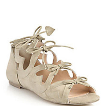 Isa Tapia - Ghillie Heart Lace-Up Suede Sandals  - Saks Fifth Avenue Mobile