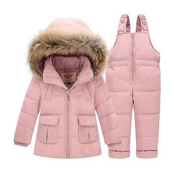 Children Down Jacket Kids Snowsuit Winter Overalls For Boys Warm Jackets Toddler Outerwear Girls Suits Coat+Bib Pants 1-3 Years