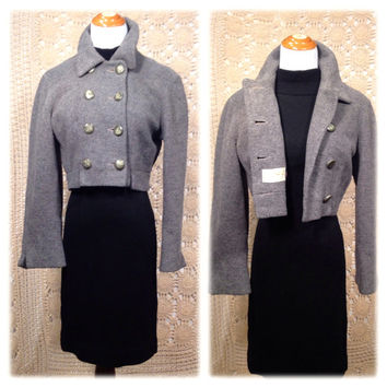 SALE! 1950s Cropped Wool Double Breasted Jacket / Adorable Fifties Cropped ANNE DAVID Military Style Jacket