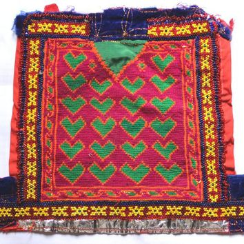 Indian Traditional Banjara Fabric Hand embroidered Mirror work, Old Fabric to Decorate Your Clothing and Interior, Handmade and Vintage