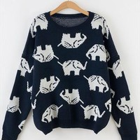 Full Elephant Print  Sweater Top for Women from topsales