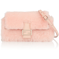Fendi - Baguette micro leather-trimmed shearling shoulder bag