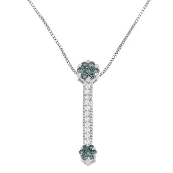 14K White Gold 1/5ct CTTW Treated Blue Round Cut Diamond Drop Pendant Necklace (H-I, I1-I2)