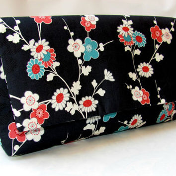 Envelope Clutch Purse,  Large envelope clutch, Clutch Blossom Bag,  handbag Fabric wallet, Evening Hand bag, Mother's Day Gift