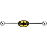 Stainless Steel Batman Logo Industrial Barbell | Body Candy Body Jewelry