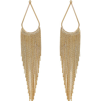STATEMENT Gold Waterfall Chandelier Drop Clip On Earrings