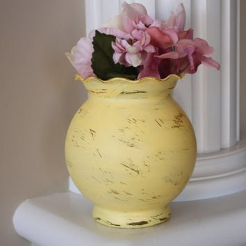 ON SALE Shabby Chic Vase, Yellow Vintage Vase, Distressed Vase, Round Vase, Vintage Centerpiece, Shabby Chic Centerpiece, Spring Decor, gift