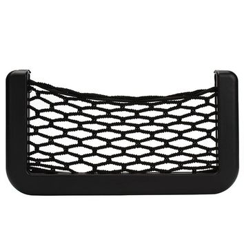 Hot sale Car Net Organizer Pockets Net car storage Automotive Bag Box With Adhesive Visor For Mobile phone 15X8cm #HP