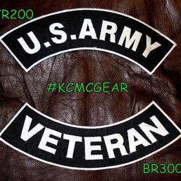U.S. Army Veteran Military Patch Set Embroidered Patches Sew on Patches for Jackets White on Black