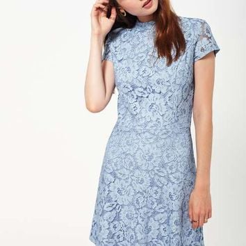 Blue Lace Skater Dress - View All - Dress Shop