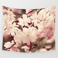 Cherry Blossom Wall Tapestry by Erin Johnson