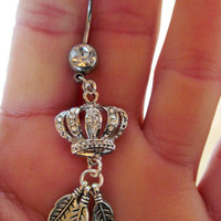 Navel Belly Button Ring Clear Crystal Crown Feathers Rhinestones Barbell Naval