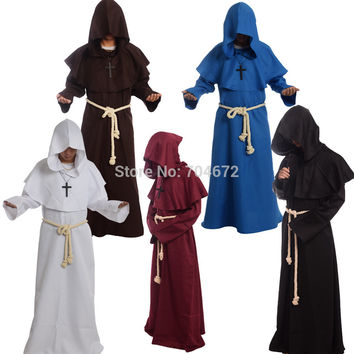 1pc Medieval Costume Man Vintage Renaissance Monk Cosplay Cowl Friar Priest Hooded Robe Rope Cloak Cape Clothing