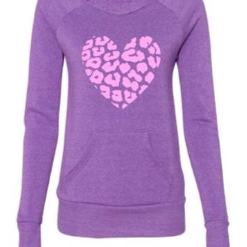 Leopard Heart  Eco Fleece - Off the Shoulder Sweatshirt - Ruffles with Love - Racerback Tank - Womens Fitness - Workout Clothing - Workout Shirts with Sayings