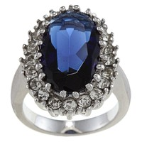 City by City City Style Silvertone Blue and Clear Crystal Oval Diana Ring   Overstock.com Shopping - The Best Deals on Fashion Rings