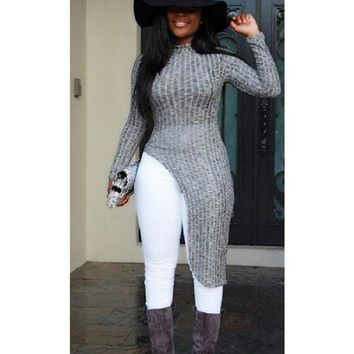 2016 Women sweaters and pullovers asymmetrical sweater dress gray long sleeve women sweater burderry women long sweater
