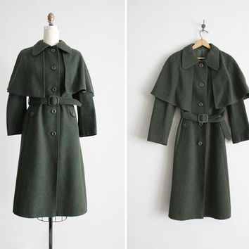 green wool coat / cape coat / austrian coat