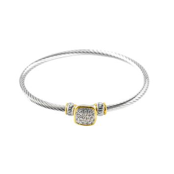 Tabia CZ Square Two-Tone Textured Cable Bangle Bracelet
