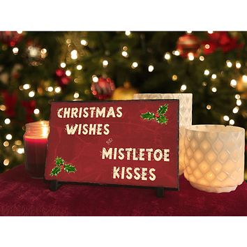Handmade and Customizable Slate Holiday Sign - Christmas Wishes