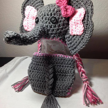Crochet any size newborn through adult for boy or girl elephant hat photography prop