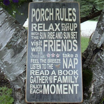 Porch Rules Subway/Typography Word Art Sign by RUSTICNORTHERN