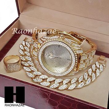 TECHNO KING ICED SET ICED OUT RAPPER 14K GOLD WATCH CUBAN BRACELET RING SET L013