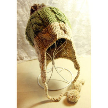 Sweet Ball Color Splicing Decorated Knitting Beanie Hat For Women