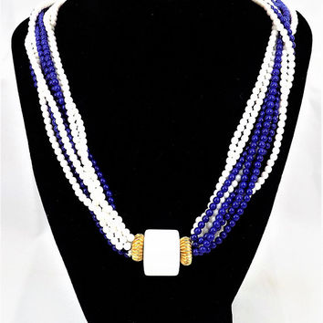 Les Bernard Beaded Necklace, Blue and White Multi Strand, Vintage Necklace