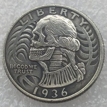 Hobo Creative 1936(W03) 1936S(W04) 1936D(W05) Washington Quarter Dollars skull zombie skeleton hand carved Copy Coins