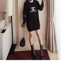 """Chanel"" Women Casual Logo Letter Loose Long Sleeve T-shirt Mini Dress"