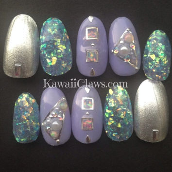 Pastel iridescent opal 3d press on nails