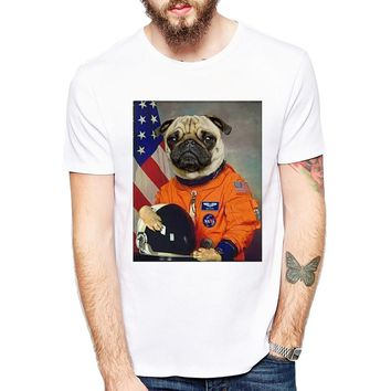 Funny Cool Pug dog Astronaut Design T Shirt Men's Personalized Custom Animal T-Shirt Summer High Quality Hipster Male Tops Tee