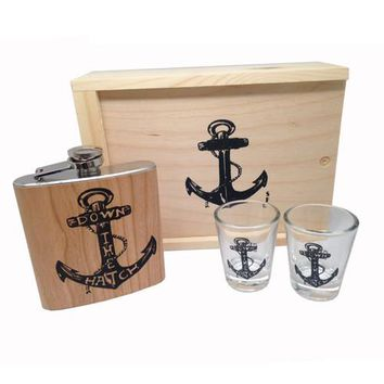 Wood Flask Gift Set Down the Hatch