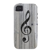 Vintage black music note Treble Clef gray wood Case For The iPhone 4 from Zazzle.com