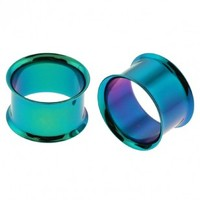 Green Colorline Anodized Double Flare Flesh Tunnels - Sold as a Pair