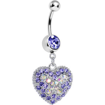 Love's Ascent Tanzanite Purple Butterfly Heart Dangle Belly Ring